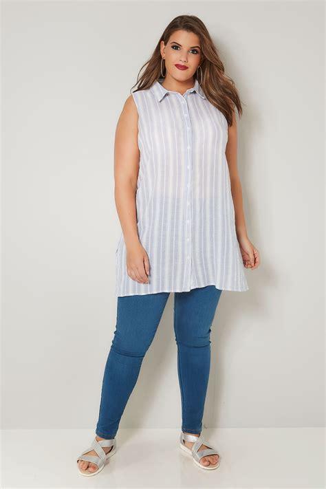 light blue striped shirt light blue striped sleeveless shirt plus size 16 to 32