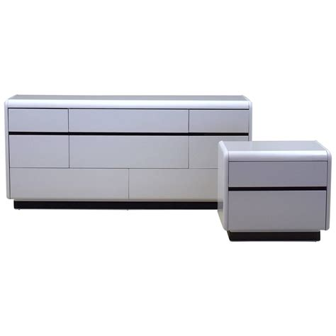 modern white lacquered dresser and nightstand by at