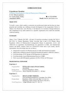 Regulatory Affairs Specialist Sle Resume by Prakash Cv