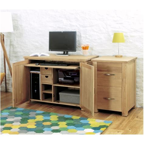 Concealed Computer Desk Aston Oak Contemporary Furniture Home Office Computer Hideaway Desk