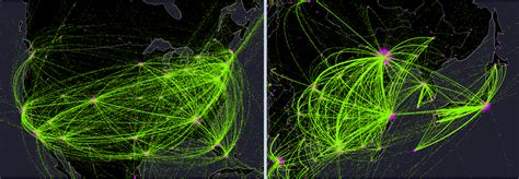 air traffic map usa every plane flight in the world one year animated