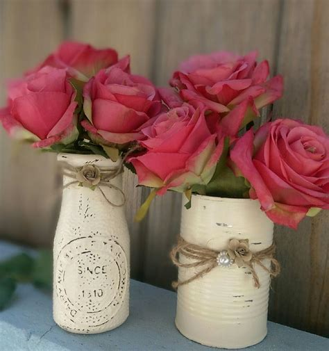 Rustic Shabby Chic Painted Milk Bottle & Tin Can, Vase