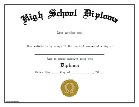 high school diploma certificate template 5 high school diploma templates free