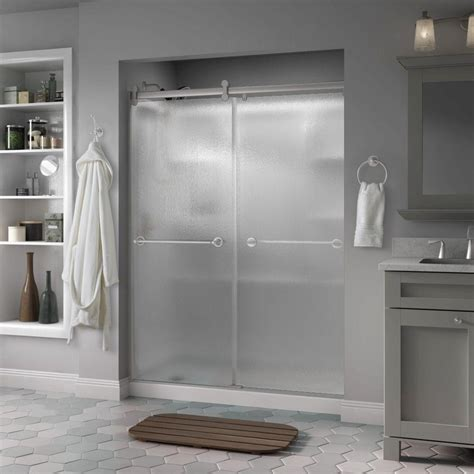 Rainx For Shower Doors Delta Silverton 60 In X 71 In Semi Frameless Contemporary Sliding Shower Door In Nickel With