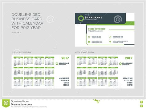 2015 calendar card template sided business card template with calendar for 2017