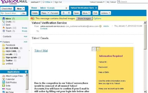 yahoo email verification spam michael holloway s filterblogs fake yahoo verification