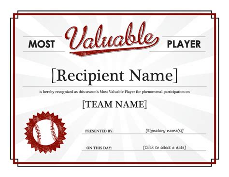 player of the day certificate template templates certificates most valuable player award