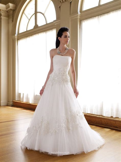 strapless tulle a line wedding dress uk with