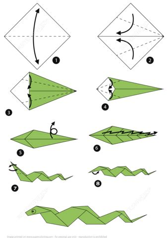 Step By Step Paper Craft - how to make an origami snake step by step