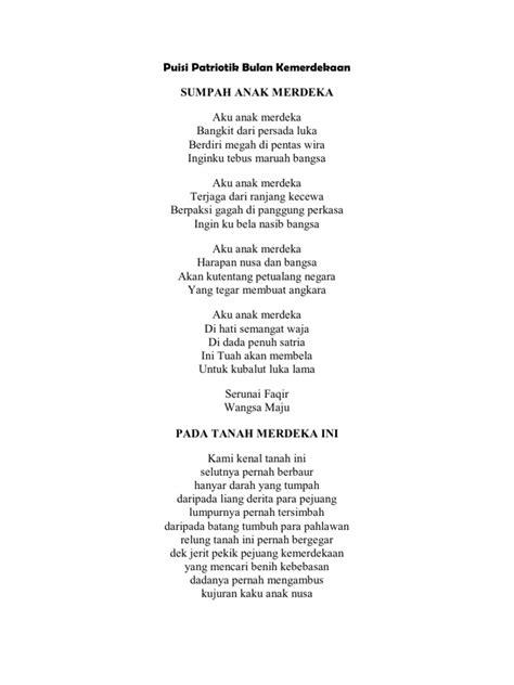 membuat puisi original puisi patriotik bulan kemerdekaan