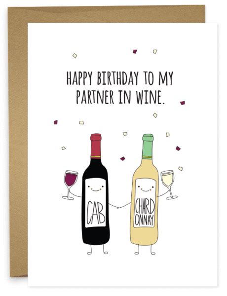 printable birthday cards wine happy birthday partner in wine humdrum paper