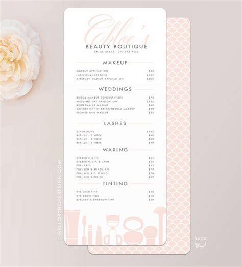 makeup price list template grace makeup artist or cosmetologist services menu salon