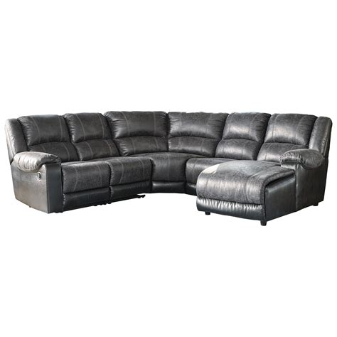 leather reclining sofa with chaise ashley signature design nantahala faux leather reclining