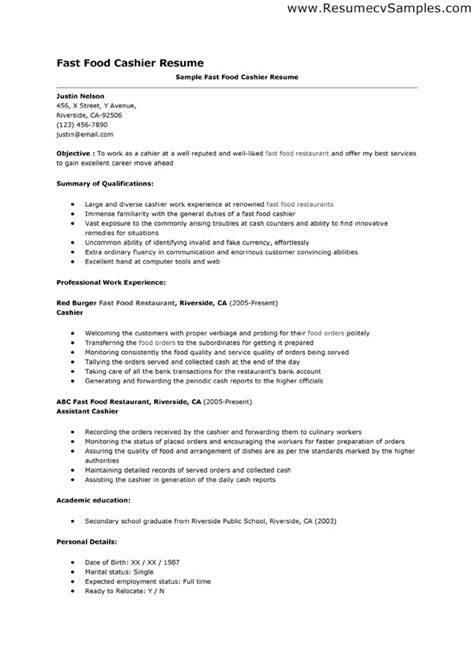 Resume Exles Food Cashier Doc 600849 Gallery Of Exle Of A Resume For A Fast Food Cashier Resume Bizdoska