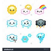 Cute Japanese Weather Icons With Emotions Isolated Stock Vector