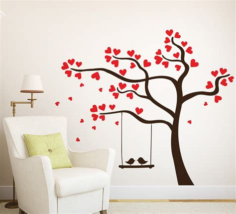 Wall Art Ideas Design Love Heart Tree Wall Art Bird Wall Decorations