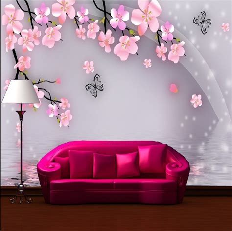 Sofa Ruang Tamu Besar Kupu Kupu Mural Besar Tv Sofa Living Room Wallpaper Background Wallpaper Mural Ruang