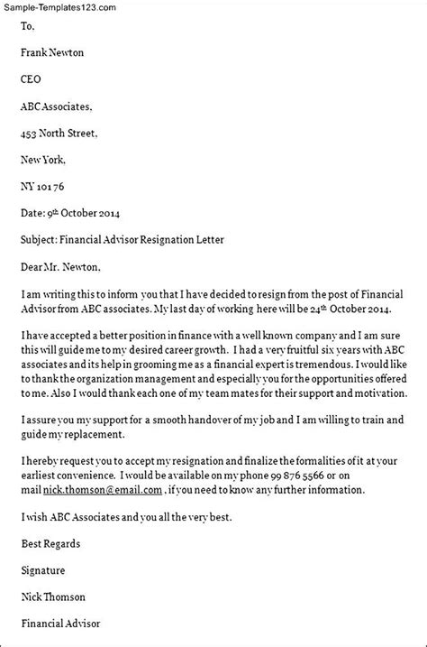 Financial Letter Of Intent Sle Financial Advisor Resignation Letter Sle Templates