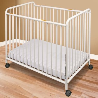 Foundations Baby Cribs Foundations Compact Steel Non Folding Crib With Slatted Ends In White Free Shipping