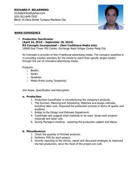 sle resume for non experienced applicant resume