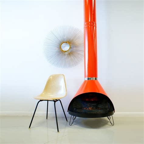 Retro Chiminea Mid Century Fireplace Orange Mid Century Style