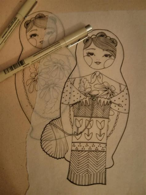 ragdoll tattoo designs nesting doll sketch ideas