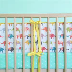 Bright Neutral Baby Bedding Crib Bumper Bright Elephants And Yellow Elephant Baby By