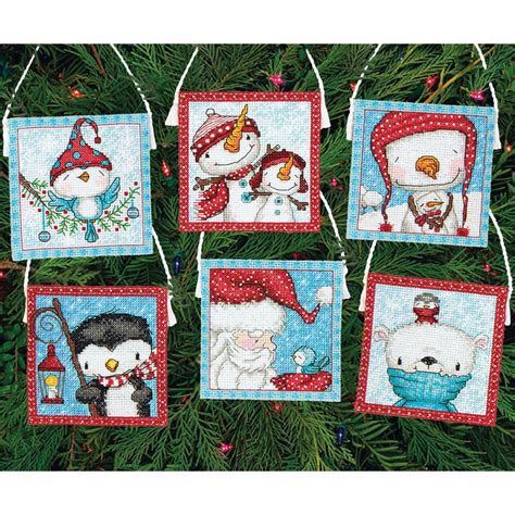 Counted Cross Stitch Kits - frosty friends ornaments counted cross stitch kit