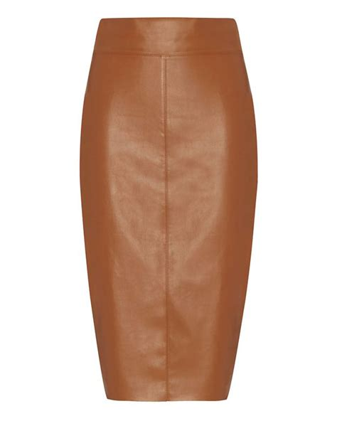 bailey 44 exclusive faux leather pencil skirt cognac in