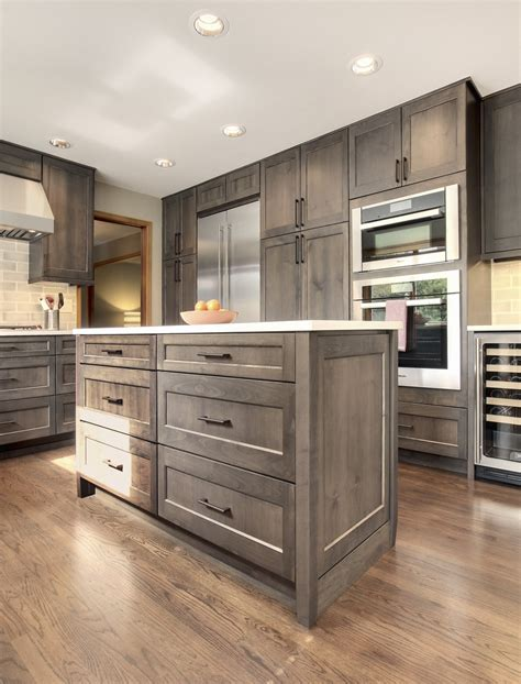 grey stained hickory cabinets grey kitchen https www facebook com finedesignbyamber ref hl thoughtful handsome kitchen remodel newly reconfigured