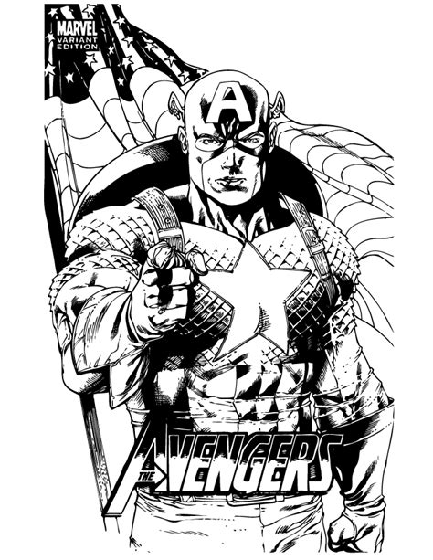 marvel comic captain america coloring page h m