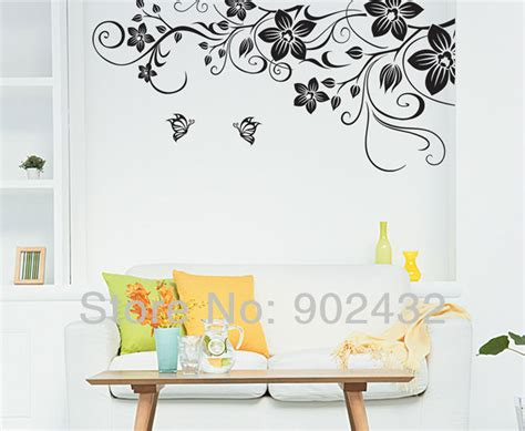 wall art decor floral vines wall sticker by wall art decor aliexpress com buy large size black vinyl butterfly