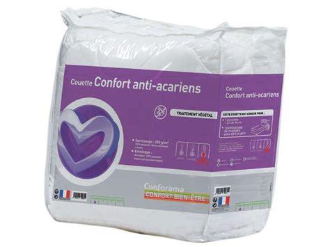couette anti acarien anti allergique couette 140x200 cm anti acariens confort conforama