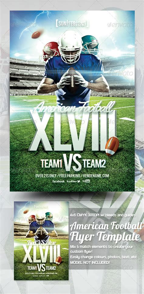 American Football Flyer Template By Mrkra Graphicriver Free Football Flyer Design Templates