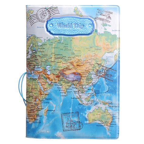 Passport Cover Map Edition leather world map passport holder organizer travel card document cover blue lazada