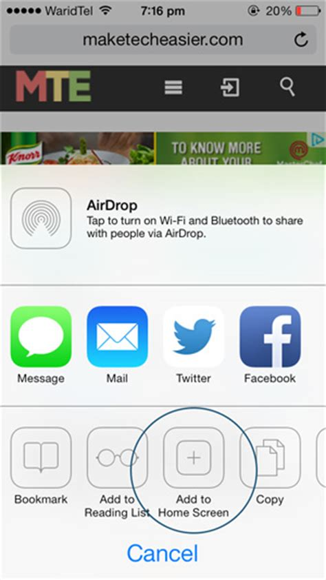 save a web page as a home screen app on your ios device