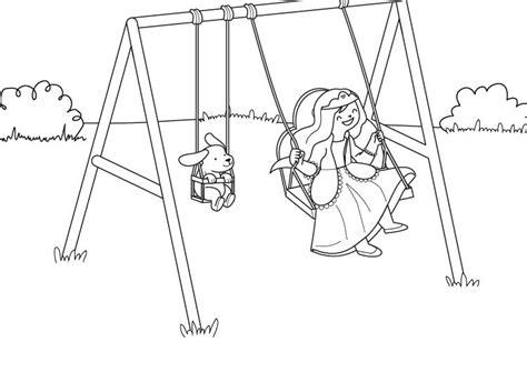 imagenes de niños jugando en un columpio imprimir el columpio de la princesa dibujo para colorear
