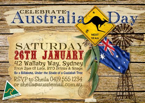free printable birthday invitations australia australia day outback invitation