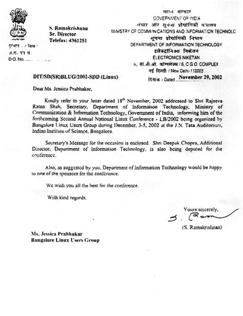 Official Letter Format To Government India Kingsly Linux