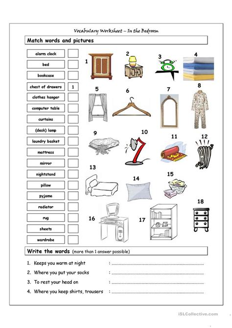 bedroom vocabulary english 74 free esl bedroom worksheets