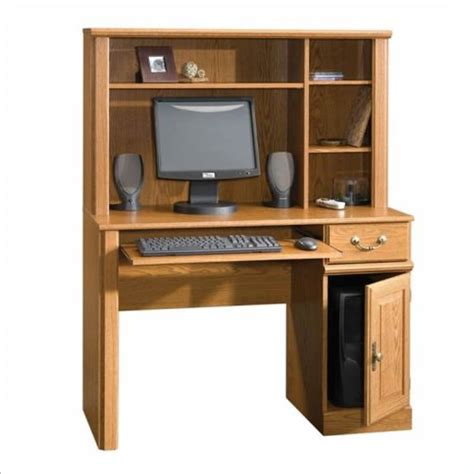 sauder orchard small wood computer desk with hutch