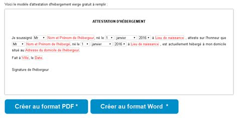 mod 232 le d attestation d h 233 bergement