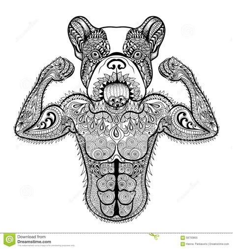Zentangle Stylized Strong French Bulldog Like Bodybuilder