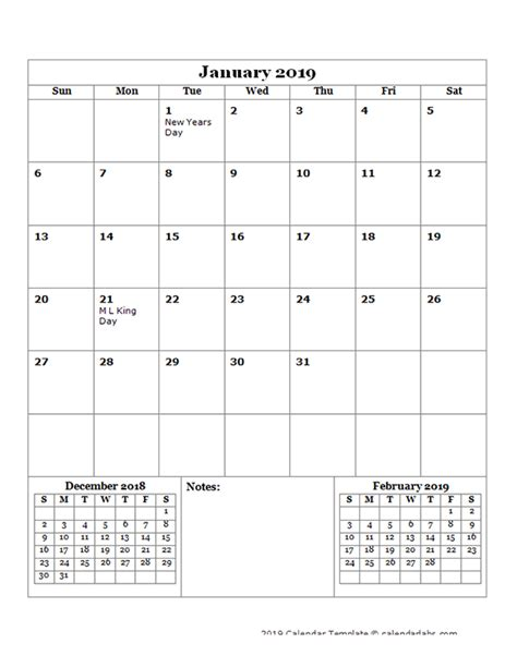 monthly planner template portrait  printable templates