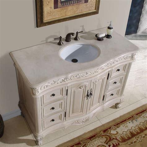 Crema Marfil Vanity Top by Silkroad Exclusive Antique 48 Quot Single Sink Bathroom Vanity