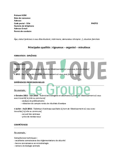 Lettre De Motivation Biologiste Exemple De Cv D Un Biologiste Cv Anonyme