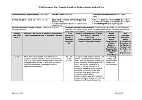 Business Impact Analysis Template Template Business Business Analysis Templates