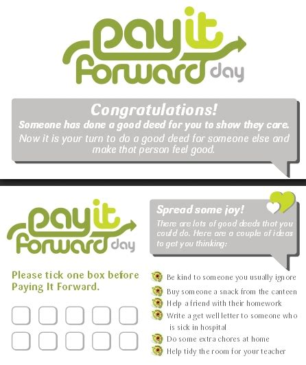 pay it forward card templates pay it forward