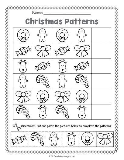 christmas pattern worksheets christmas pattern worksheet