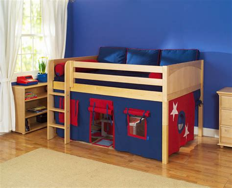toddler bed loft play fort low loft bed by maxtrix kids blue red on natural 300 1